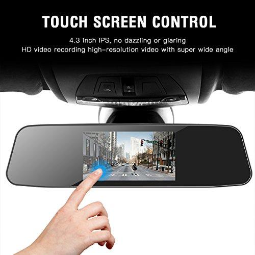 """Cámara de Coche JEEMAK 1080P Pantalla Táctil Dash Cam LCD de 4.3"""" con 170° Gran Ángulo Espejo Retrovisor Cam con cámara delantera y trasera   G Sensor  Grabación en Bucle y Detección de Movimiento"""