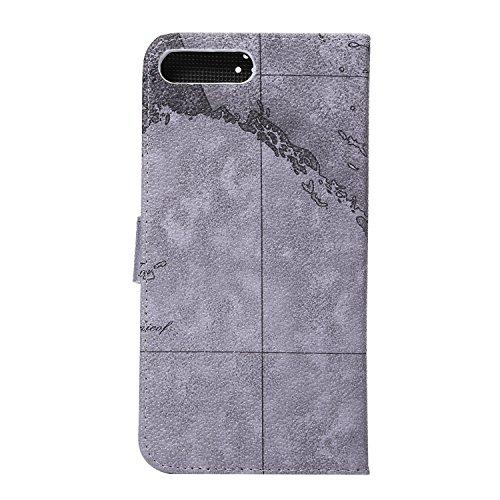 Voguecase® Pour Apple iPhone 7 Coque, Étui en cuir synthétique chic avec fonction support pratique pour Apple iPhone 7 (Cheval fou motif-Rouge-Marron)de Gratuit stylet l'écran aléatoire universelle carte grise