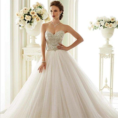 LUCKY-U Hochzeitskleid, Bridal Damen Vintage Cap Sleeve Spitze Brautkleid A Line - Cap Sleeves Bridal