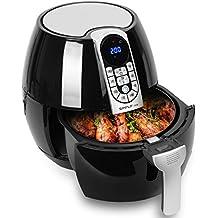 Freidora sin aceite digital, freír con Aire caliente, 3.2 L, 1500W, Freidora eléctrica pantalla táctil, Freidora antiadherente sartén con Libro de cocina, Negro