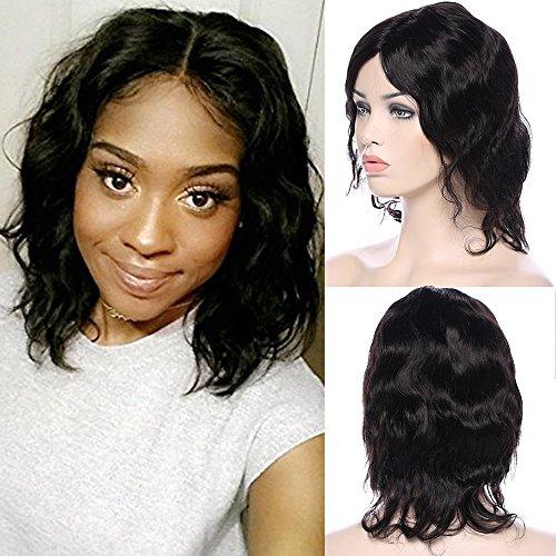 Parrucca corta con capelli lisci ondulati, nera, 100% veri capelli umani, brasiliana, 7a, aspetto autentico, con calotta regolabile senza colla, capelli umani da 25 cm