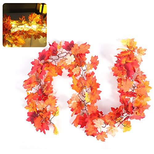 Herbst Ahornblatt Girlande Licht, 20LED Ahornblatt Zuckerrohr Licht kreative Kette Ahornblatt Cane Weihnachten Thanksgiving Halloween Deko Geschenk, 1.7m