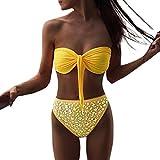 Bikini Damen Push Up LHWY Frauen Strand Bademode Glänzend Strasssteine Bikini Set Push Up BH Vintage Badeanzug Pailletten High Waist Hose Sommer (L, Gelb)