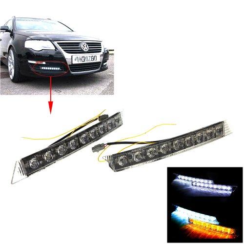 Tera® 2x 9 LED feux diurne 12V auto /running led light/ Feux de jour DRL blanche + clignotant Jaune dans les virages pour la conduite de jour