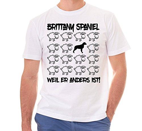 Siviwonder Unisex T-Shirt BLACK SHEEP - BRITTANY SPANIEL bretonischer Vorstehhund - Hunde Fun Schaf weiss 4XL (Brittany T-shirt Spaniel-weiß)