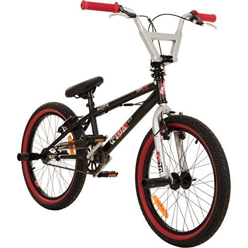deTOX 20 Zoll BMX Juicy Rotor Pegs Freestyle Bike, Farbe:schwarz/rot