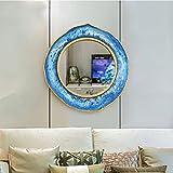 LEI ZE JUN UK- Retro Craft Circular Wandspiegel Nordic Mediterranean Style Europäische Eingang Wandverzierung Anhänger Haus Einfache Badezimmer Spiegel Dressing Schönheit Dekoration Wandspiegel