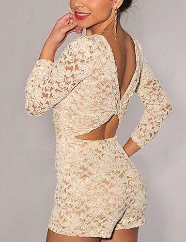 GSP-Round Colla dos nu dentelle salopette sexy des femmes white-2xl