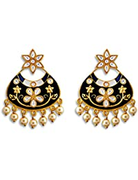Latest Meenakari Floral Design Black Gold Plated Kundan Brass Jhumki Earrings For Women,girls And Gift