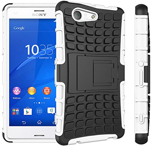 Sony Xperia Z3 Compact / Z3 Mini Hülle Nnopbeclik Hybrid 2in1 TPU+PC Schutzhülle Cover Case Silikon Rüstung Armor Dual Layer Muster Handytasche Backcover 360-Grad-Drehung ständer stoßfest Handy Hülle Tasche Schutz Etui Schale Bumper Pour Sony Xperia Z3 Compact / Z3 Mini 4.6 Zoll [Schwarz+Weiß]