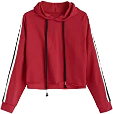 Outtop(TM) Women's Striped Crop Hoodie Sweatshirt Jumper Hooded Pullover Tops
