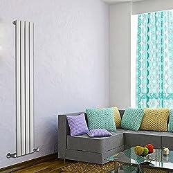 Milano Hudson Reed Delta - Radiateur Design Vertical - Acier Blanc - 160 x 28 x 4,6cm 586 Watts