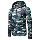 UFACE Herren Camouflage Print Langarm Hoodie Pullover Langarm Camouflage Hoodie Kapuzen Sweatshirt Top Tee Outwear Bluse(Grün,M