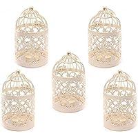 5 portavelas en forma de jaula de pájaros, estilo vintage, de metal, para decoración de bodas, bares, fiestas, etc., de iTemer