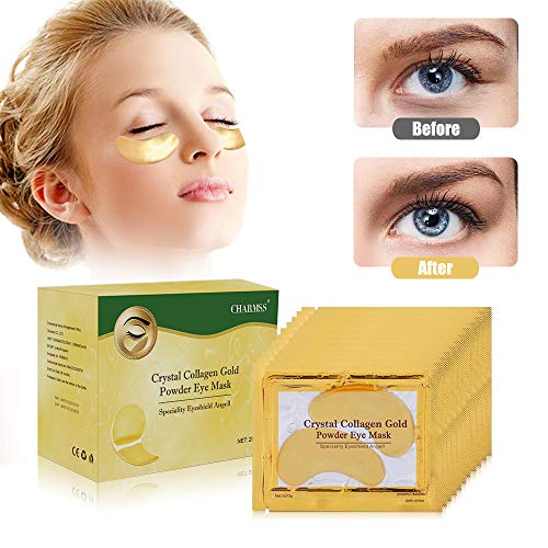 Charmss 24K Ojo Gel de Oro Colágeno Máscara, Antiedad, Antiarrugas para Mascarilla los Ojos de Colágeno, Almohadillas para los Ojos de Colágeno, Reduce Los Ojeras, Las Bolsas Bajo Los Ojos.