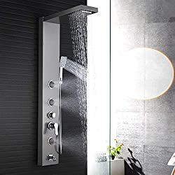 Rozin Shower Tower Bathroom Wall Mounted Stainless Steel Body Massage Jets Handheld Shower Spray Top Head Single Lever Mixer Water System Shower Column