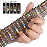 Guitare décalcomanies Idéal pour les débutants, alaman 100% vinyle Plus touche colorées Notes aider vous Réduire la difficulté de la guitare d'apprentissage Gitarren Griffbrett Schwarz Bunt
