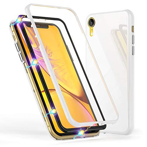 NALIA Magnetische 360° Glas Hülle kompatibel mit iPhone XR, Ultra-Slim Hard-Case Dünnes Hartglas Back-Cover mit Rahmen & Display-Schutz, Full-Body Schutzhülle Bumper Handy-Tasche Etui, Farbe:Weiß Wireless Glas