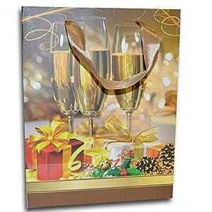 Gifts 4 All Occasions Limited SHATCHI-679 - Juego de 6 bolsas de papel para copas de vino (tamaño pequeño), diseño navideño, multicolor
