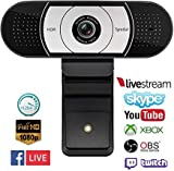 Webcam Stream HD 1080p con Doppio Microfono Integrato Compatibile con Xbox, OBS, Twitch, Skype, Youtube, XSplit, Compatibile con Mac OS Windows 10/8/7