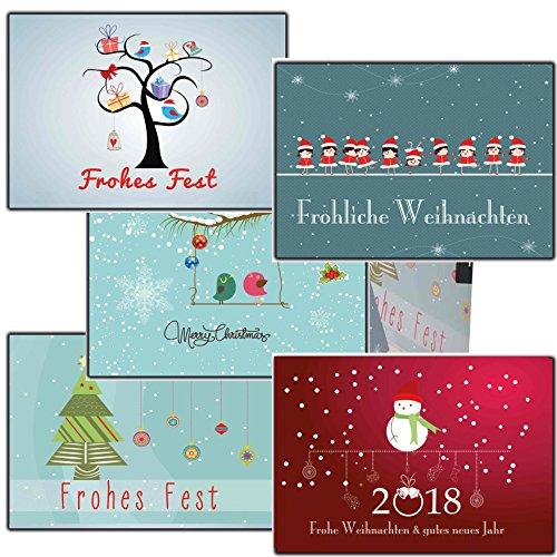 Grußkarten Weihnachten Weihnachtspostkartenset lustig (10 Stück) Weihnachtspostkarten festlich & elegant Collection online bestellen traditionell mit Tieren Vögel Eule Tannebaum (Individuelle Foto-weihnachtskarten)
