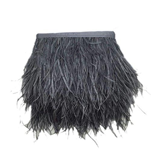 FITYLE Straußenfeder Straußenfedern Flügelfedern Schmuckfeder DIY Kostüm Basteln Deko - Dunkelgrau