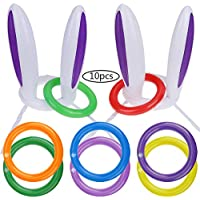 Goldge 2pcs Easter Inflatable Bunny Rabbit Ears Hats with 10pcs Rings Toss Game Set for Easter
