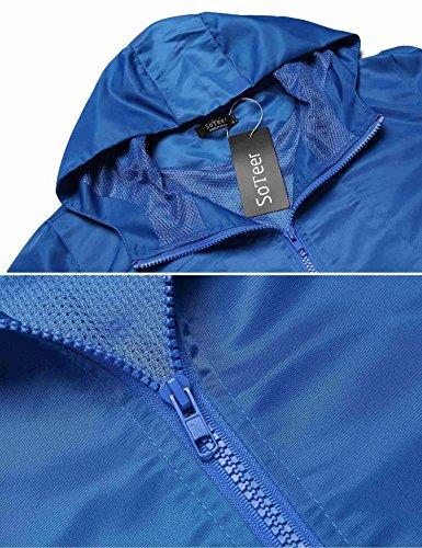 Damen Jacke wind- und wasserdichte Übergangsjacke Outdoorjacke Funktionsjacke Wanderjacke Regenjacke mit Kapuze Himmelblau