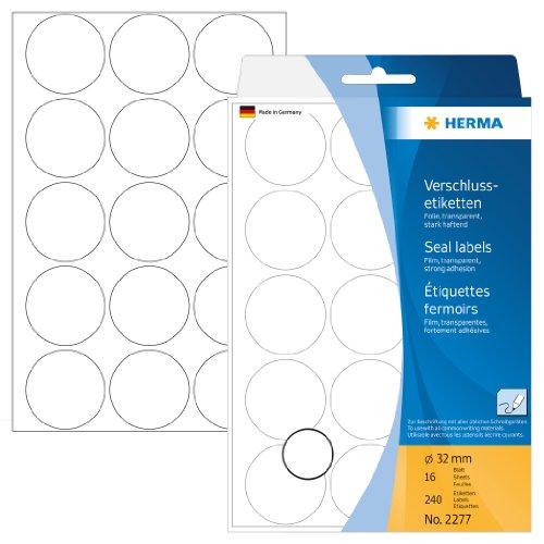 Herma 2277 Verschlussetiketten rund, transparent (Ø 32 mm) 240 Klebepunkte, 16 Blatt Klebefolie, selbstklebend,Handbeschriftung