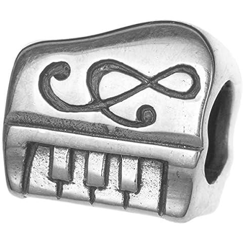 Argento Sterling 925Musica Pianoforte Compositore Clef Nota Bead per European Charm Bracelet - Musica Nota Charm