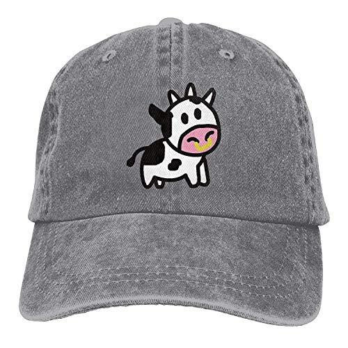 Voxpkrs Karikatur-Kuh-Trend-Druck-Cowboy-Hut-Mode-Baseballmütze für Männer und Frauen schwärzen DV2383