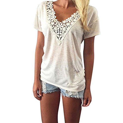 Yidarton Damen Kurzarm Sommer Bluse V-Ausschnitt Shirt Spitze Weste Weise Tank Tops Oberteil (L, Weiß)