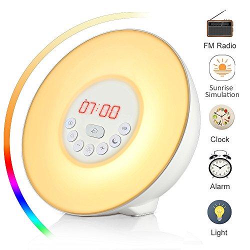 Luces-despertador, Wake Up Light, Sunrise Reloj despertador con Snooze radio FM 7 colores / 10 brillo Lámpara de cabecera LED Luz de noche 6 Naturaleza suena el atardecer para niños infantil (blanco)