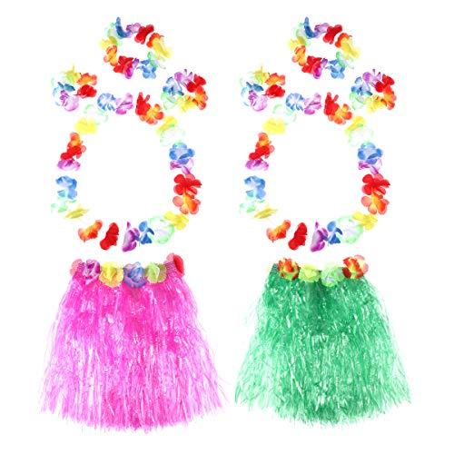 Toyvian 2 Sets Hula Grass Skirt Set Hawaiian Luau Tropical Skirt Kids Girls Costume Dance Skirt 40cm (Green & - Grass Skirt Kostüm