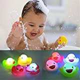 Lalang Baby Bathtime Ducks Toys Bath Tub Toys Set Flashing Light Bath Toys Waterproof Night Light Ducks (4pcs duck)