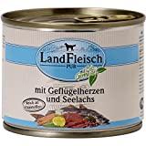 12er Pack Landfleisch Dog Pur Geflügelherzen & Seelachs 195g