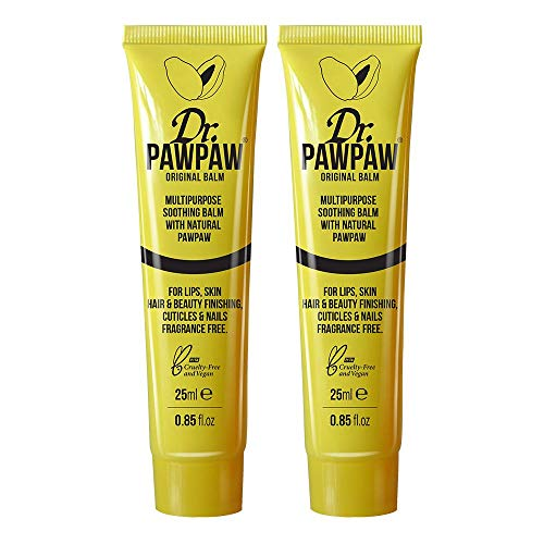 Lippenbalsam-duo-pack (Dr. PAWPAW Original Balm, Multi-Purpose Fragrance Free Balm, For Lips, Skin, Hair & Beauty Finishing, Cuticles And Nails 2 x 25ml Duo Pack)
