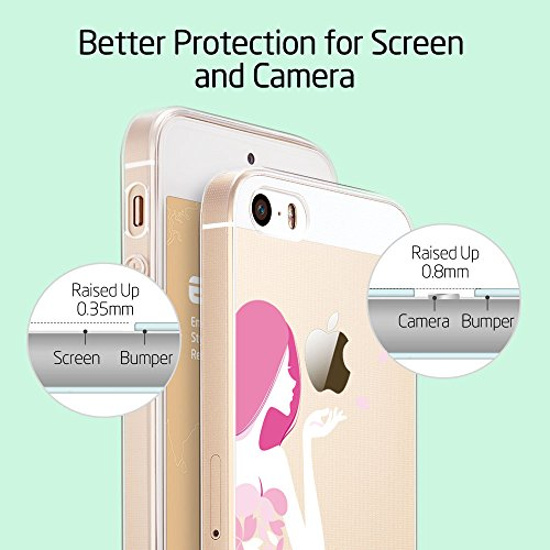 Custodia per iPhone 5s,Cover per iPhone 5 se in Silicone, ESR® iPhone SE 5S 5 Slim Clear Silicone Gel Case Cover with Cute Cartoon Pattern Mania Series_Pink Floral Girl
