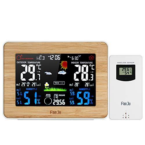 Leepesx FanJu Wireless Color LCD-Wetterstation Wecker Indoor Outdoor Thermometer Hygrometer Barometer mit Mondphasenanzeige Schlummerfunktion