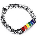 Flongo Edelstahl Armband Armreifen Armkette Link Handgelenk Silber Bunt Mehrfarbig Multicolor Regenbogen Streifen Gay Pride Herren, Damen