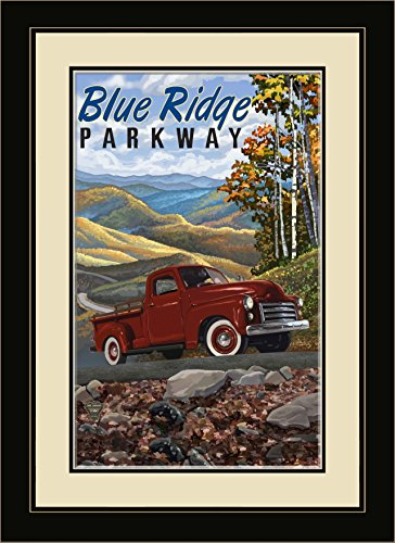Northwest Art Mall Ridge Parkway Big Red Truck gerahmt Art Wand von Paul A. lanquist, blau, 13 von 40,6 cm