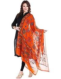 Dupatta Bazaar Women's Block Printed Cotton Orange Dupatta With Aari & Mirror Work.