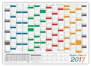 Rainbow Wandkalender / Wandplaner 2017 - gerollt - DIN A2 Format (594 x 420 mm) mit 14 Monaten, kompletter Jahresvorschau 2018 und Ferientermine/Feiertage aller Bundesländer
