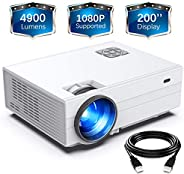 """FunLites Projector,+80% Brightness HD 4900LUX Video Projector with 200"""" Display 60,000 Hrs Led Home Theat"""