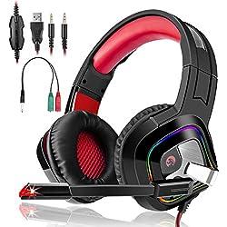 Casque Gaming PS4,Casque PC Mac Phone Ultra-Léger Stéréo Lumière Stéréo Bass Anti-Bruit LED Audio 7.1 Stéréo Anti Bruit Léger lumière avec 3.5mm Connecteur Compatible(Rouge)