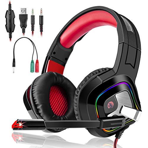 Casque gamer Gaming game Audio Stéréo Anti Bruit Léger avec Micro Réglable LED pour PC PS4 Laptop Tablette Rouge