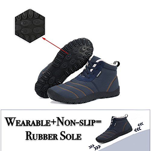 Maniamixx Herren Damen Wasserdichte Schneeschuhe Warme Casual Stiefel Outdoor Schuhe für Winter High-Top Schnüren Rutschfeste Schuhe Blau
