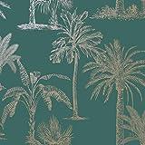 Papier peint palmier bleu sarcelle doré métallisé scintillant floral feuille forêt décoration