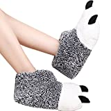 Butterme Unisex Polar Bear Paw Slippers Botas de Felpa de Invierno Cálido Inicio Zapatillas Furry Animal Paw House Zapatillas(Gris,L)