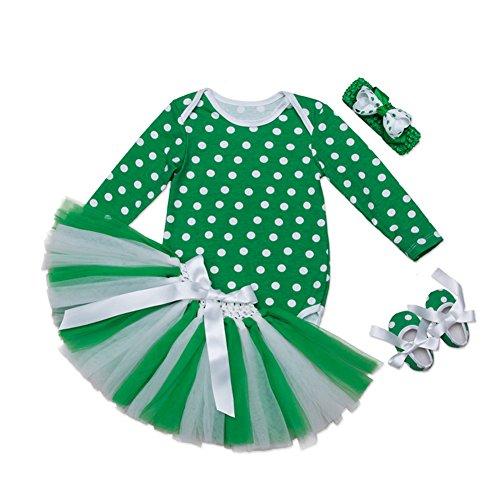 Irish Baby-outfits (Fairy Baby Baby Mädchen 4Pcs Grün Rock-Set Irish St. Patrick's Day Kostüm Säugling Size (0-3 Monate) (Punktmuster))